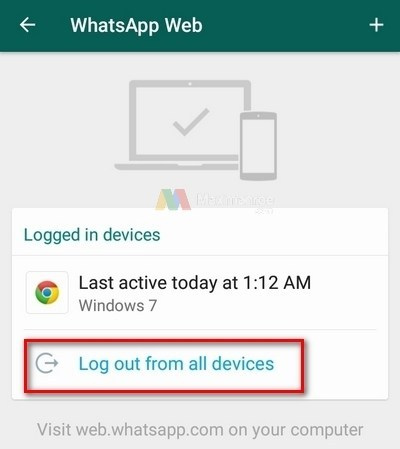 Đăng xuất khỏi Whatsapp Web