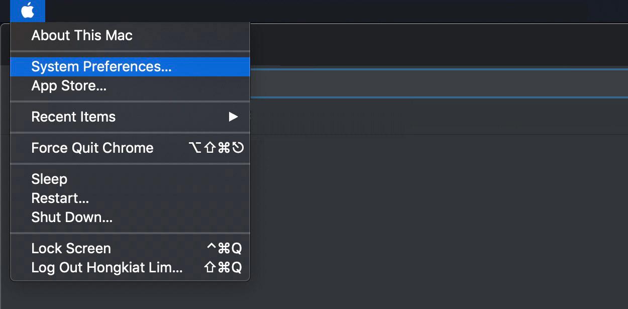 Bước 1: Nhấp vàobiểu tượng Appleở trên cùng bên trái và đi đến System Preferences