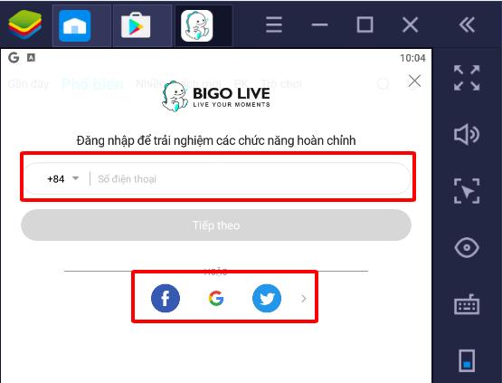 Đăng nhập vào Bigo live