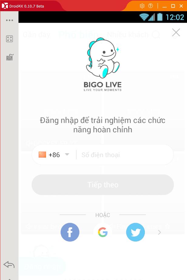 Đăng nhập vào ứng dụng Bigo Live