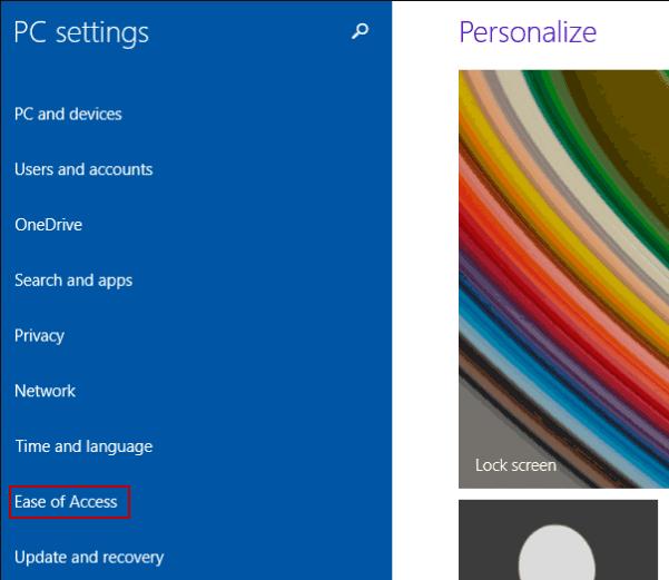 Mở Bàn phím trên màn hình trong PC settings